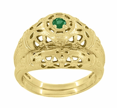 Art Deco Filigree Emerald Ring in 14 Karat Yellow Gold - Item R428YE - Image 5