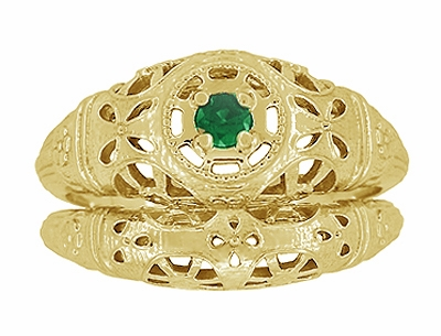 Art Deco Filigree Emerald Ring in 14 Karat Yellow Gold - Item R428YE - Image 6
