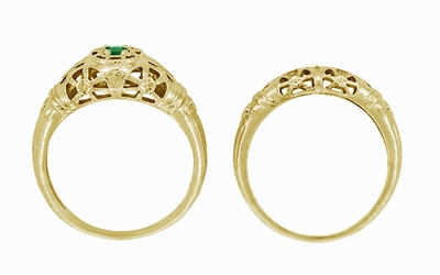 Art Deco Filigree Emerald Ring in 14 Karat Yellow Gold - Item R428YE - Image 7