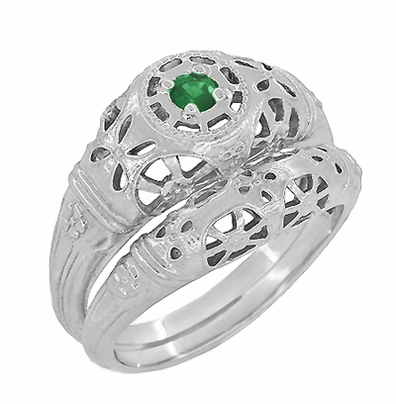 Art Deco Filigree Emerald Ring in Platinum - Item R428PE - Image 5
