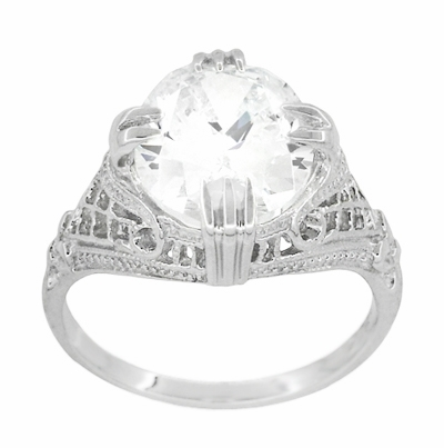 Art Deco Filigree Engraved 7 Carat Oval Cubic Zirconia ( CZ ) Statement Ring in Sterling Silver - Item SSR157CZ - Image 1