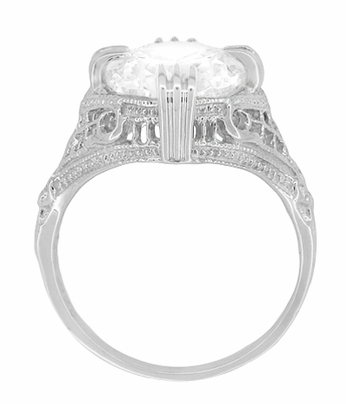 Art Deco Filigree Engraved 7 Carat Oval Cubic Zirconia ( CZ ) Statement Ring in Sterling Silver - Item SSR157CZ - Image 3