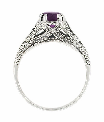 Art Deco Filigree Engraved Amethyst Promise Ring in Sterling Silver - Item SSR2 - Image 1
