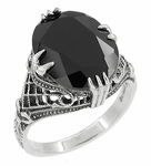Art Deco Filigree Engraved Gothic Black Onyx Claw Ring in Sterling Silver