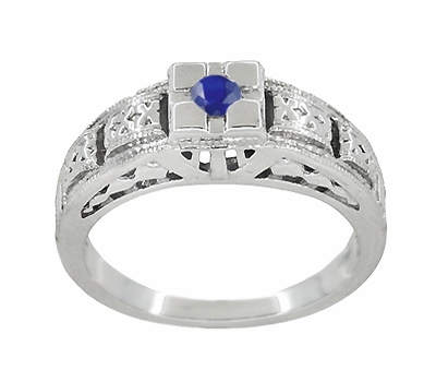 Art Deco Filigree Engraved Blue Sapphire Engagement Ring in Platinum, Antique Style Simple Low Profile Sapphire Band - Item R160PS - Image 2