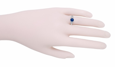 Art Deco Filigree Engraved Blue Sapphire Promise Ring in Sterling Silver - Item SSR2S - Image 2