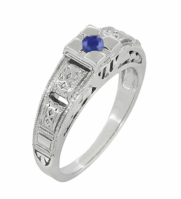 Art Deco Filigree Engraved Blue Sapphire Ring in 14 Karat White Gold - Item R160WS - Image 1