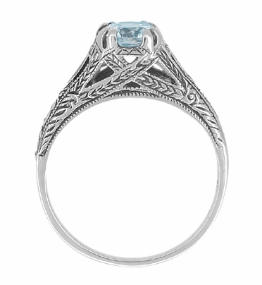 Art Deco Filigree Engraved Blue Topaz Promise Ring in Sterling Silver - Item SSR14 - Image 1