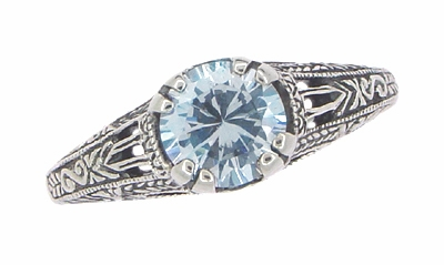 Art Deco Filigree Engraved Blue Topaz Promise Ring in Sterling Silver - Item SSR14 - Image 2