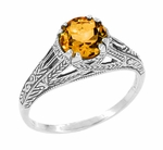 Art Deco Filigree Engraved Citrine Ring in Sterling Silver