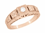 Art Deco Filigree Engraved Diamond Engagement Ring in 14 Karat Rose Gold
