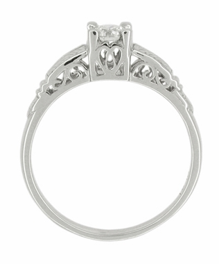 Art Deco Filigree Engraved Diamond Engagement Ring in Platinum - Item R297 - Image 2