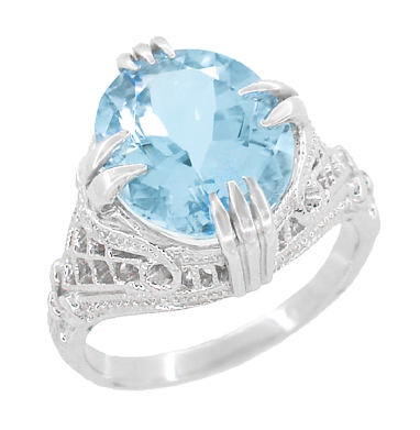Art Deco Filigree Claw Prong Oval Blue Topaz Statement Ring in Sterling Silver