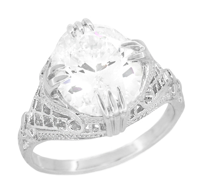 Art Deco Filigree Engraved 7 Carat Oval Cubic Zirconia ( CZ ) Statement Ring in Sterling Silver
