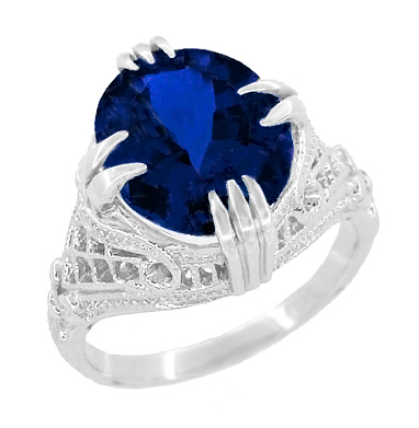 Art Deco Filigree Oval Lab Created Blue Sapphire Statement Ring in Sterling Silver | Claw Prong Engraved Setting