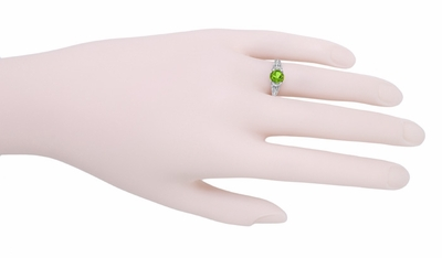 Art Deco Filigree Engraved Peridot Promise Ring in Sterling Silver - Item SSR8 - Image 2