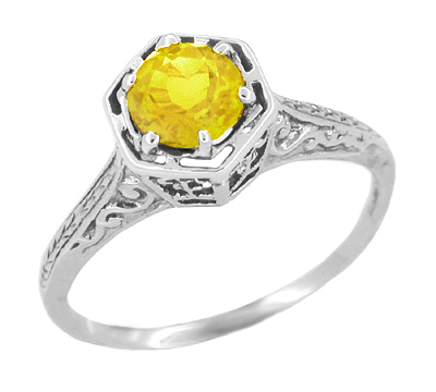 Art Deco Filigree Engraved Yellow Sapphire Engagement Ring in 14 Karat White Gold