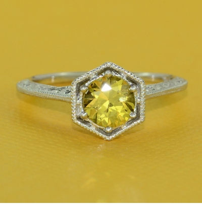 Art Deco Filigree Engraved Yellow Sapphire Engagement Ring in 14 Karat White Gold - Item R180W75YS - Image 3