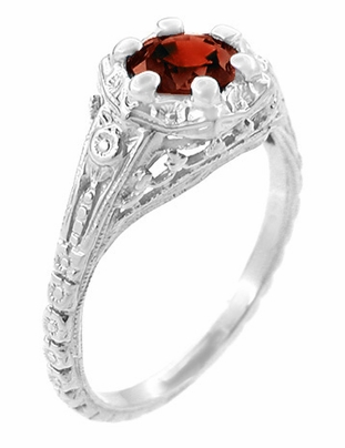 Art Deco Filigree Flowers Almandine Garnet Promise Ring in Sterling Silver - Item SSR706G - Image 1