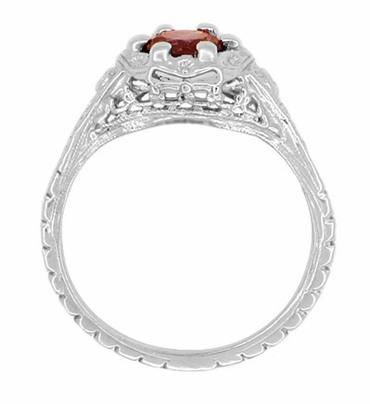 Art Deco Filigree Flowers Almandine Garnet Promise Ring in Sterling Silver - Item SSR706G - Image 2