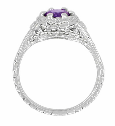 Art Deco Filigree Flowers Amethyst Promise Ring in Stering Silver - Item SSR706AM - Image 2