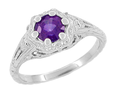 Filigree Art Deco Flowers Amethyst Engagement Ring in 14 Karat White Gold