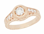Art Deco Filigree Flowers and Scrolls 1/2 Carat Diamond Engraved Engagement Ring in 14 Karat Rose Gold