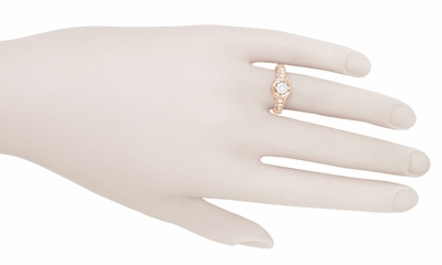 Art Deco Filigree Flowers and Scrolls 1/2 Carat Diamond Engraved Engagement Ring in 14 Karat Rose Gold - Item R990R50D - Image 4