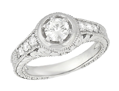 Art Deco Filigree Flowers and Scrolls Engraved 1/2 Carat Diamond Engagement Ring in 14 Karat White Gold