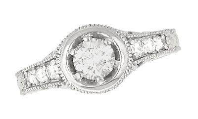 Art Deco Filigree Flowers and Scrolls Engraved 1/2 Carat Diamond Engagement Ring in 14 Karat White Gold - Item R990W50 - Image 1