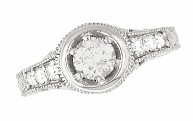 Art Deco Filigree Flowers and Scrolls Engraved 3/4 Carat Diamond Engagement Ring Setting in 14 Karat White Gold - Item R990W75NS - Image 1