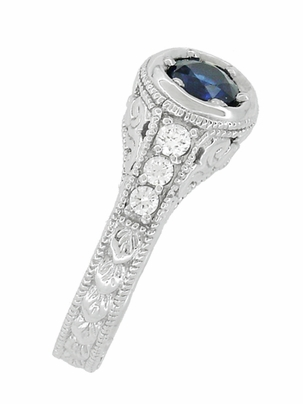 Art Deco Filigree Flowers and Scrolls Engraved Blue Sapphire and Diamond Engagement Ring in 18 Karat White Gold - Item R990W50S - Image 2