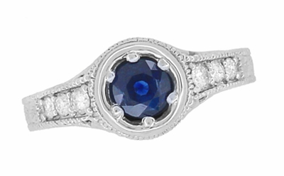 Art Deco Filigree Flowers and Scrolls Engraved Blue Sapphire and Diamond Engagement Ring in 18 Karat White Gold - Item R990W50S - Image 3