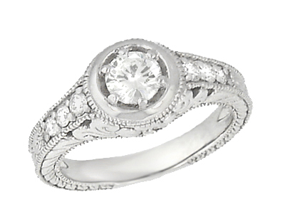 Art Deco Filigree Flowers and Scrolls Engraved Diamond Engagement Ring in 14 Karat White Gold, Vintage Style Low Profile Ring