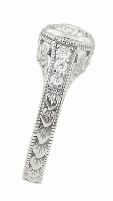 Art Deco Filigree Flowers and Scrolls Engraved Diamond Engagement Ring in 14 Karat White Gold, Vintage Style Low Profile Ring - Item R990W25 - Image 2