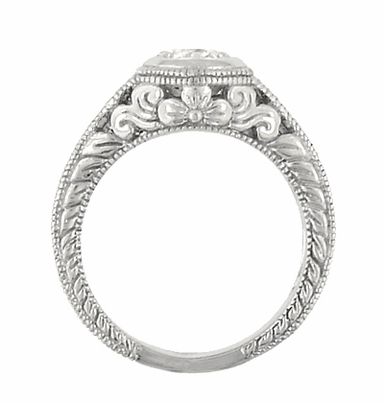 Art Deco Filigree Flowers and Scrolls Engraved Diamond Engagement Ring in 14 Karat White Gold, Vintage Style Low Profile Ring - Item R990W25 - Image 3