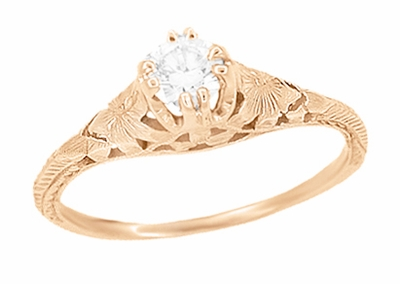 Art Deco Filigree Flowers and Wheat 1/3 Carat Engraved Diamond Engagement Ring in 14 Karat Rose ( Pink ) Gold - Item R356RD33 - Image 1