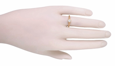 Art Deco Filigree Flowers and Wheat 1/3 Carat Engraved Diamond Engagement Ring in 14 Karat Rose ( Pink ) Gold - Item R356RD33 - Image 3