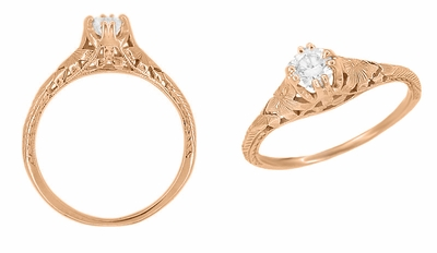 Art Deco Filigree Flowers and Wheat 1/3 Carat Engraved Engagement Ring Setting in 14K Rose Gold | Replica Ring Mount - Item R356R33 - Image 1