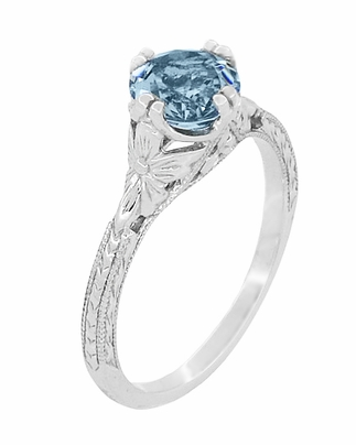 Art Deco Filigree Flowers and Wheat Engraved Aquamarine Engagement Ring in 18 Karat White Gold - Item R356W75A - Image 2