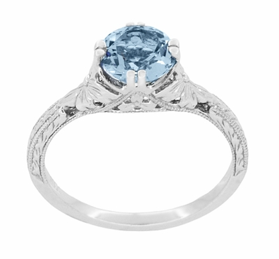 Art Deco Filigree Flowers and Wheat Engraved Aquamarine Engagement Ring in 18 Karat White Gold - Item R356W75A - Image 3