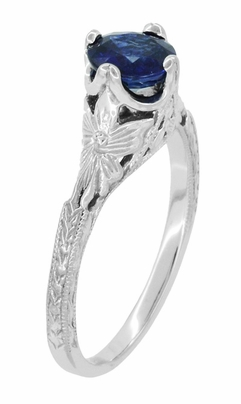 Art Deco Filigree Flowers and Wheat Engraved Sapphire Engagement Ring in 18 Karat White Gold - Item R356W50S - Image 1