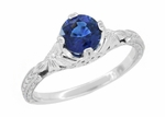 Art Deco Filigree Flowers and Wheat Engraved Sapphire Engagement Ring in 18 Karat White Gold