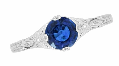Art Deco Filigree Flowers and Wheat Engraved Sapphire Engagement Ring in 18 Karat White Gold - Item R356W50S - Image 3