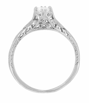 Art Deco Filigree Flowers and Wheat Engraved White Sapphire Engagement Ring in 18 Karat White Gold | Antique Replica - Item R356W33WS - Image 2