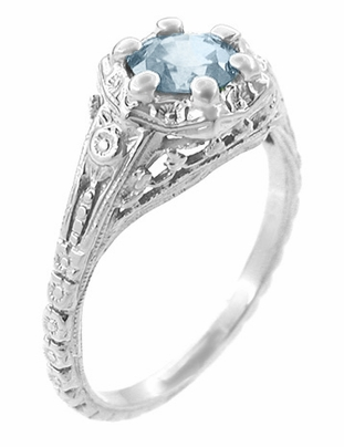 Art Deco Filigree Flowers Aquamarine Promise Ring in Sterling Silver - Item SSR706A - Image 1