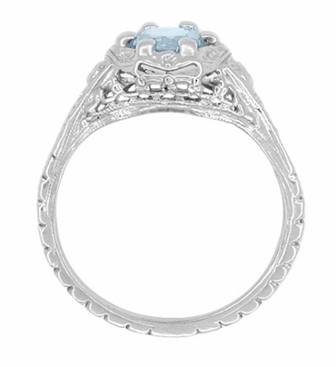 Art Deco Filigree Flowers Aquamarine Promise Ring in Sterling Silver - Item SSR706A - Image 2