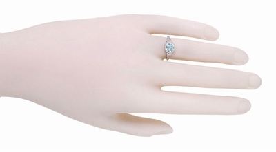 Art Deco Filigree Flowers Aquamarine Promise Ring in Sterling Silver - Item SSR706A - Image 3