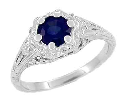 Art Deco Filigree Flowers Blue Sapphire Promise Ring in Sterling Silver