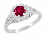 Art Deco Filigree Flowers Lab Created Ruby Engagement Ring in 14 Karat White Gold